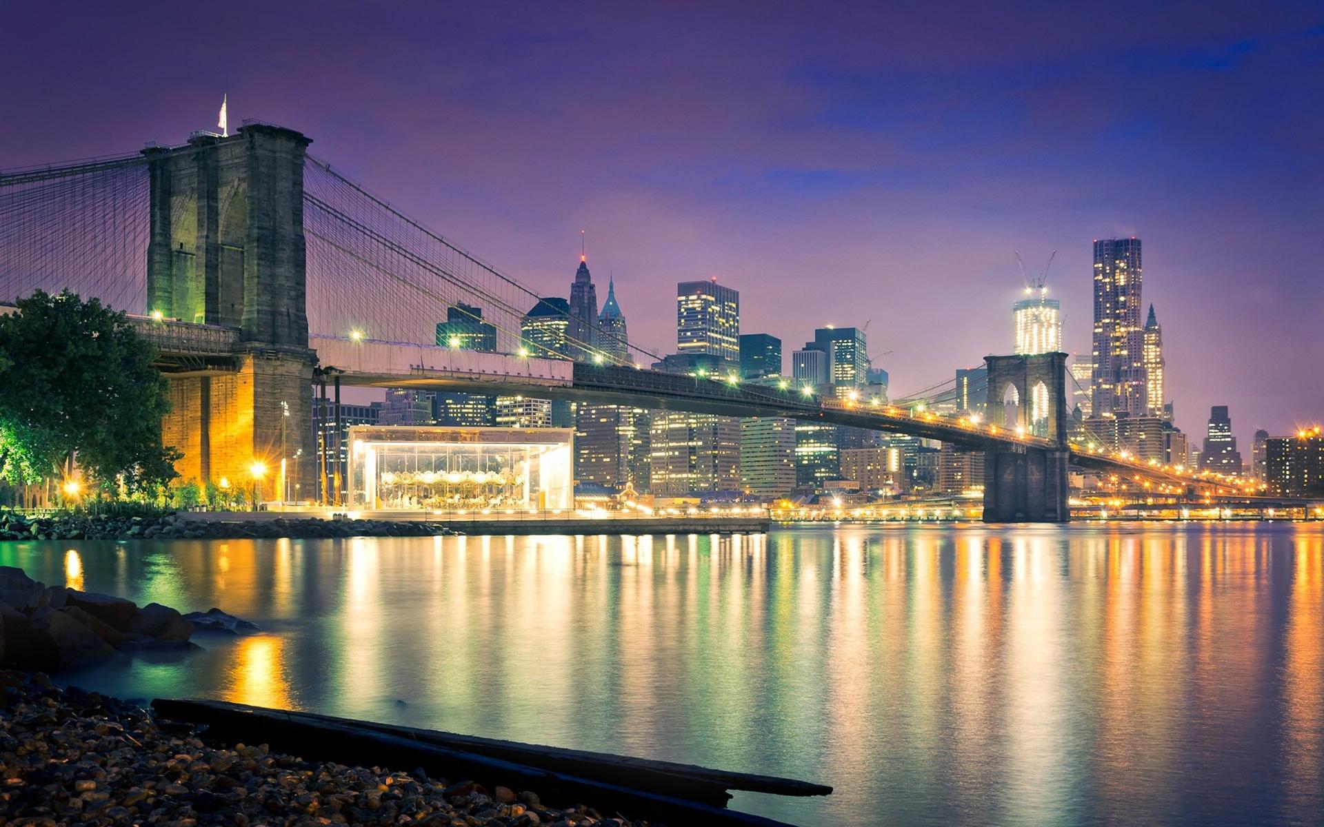Brooklyn Bridge Bridge New York Buildings Skyscrapers Ocean Night 1920x1200
