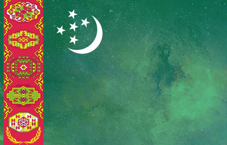 Wallpaper green flag ornament Turkmen Turkmenistan Baydak 1332x850