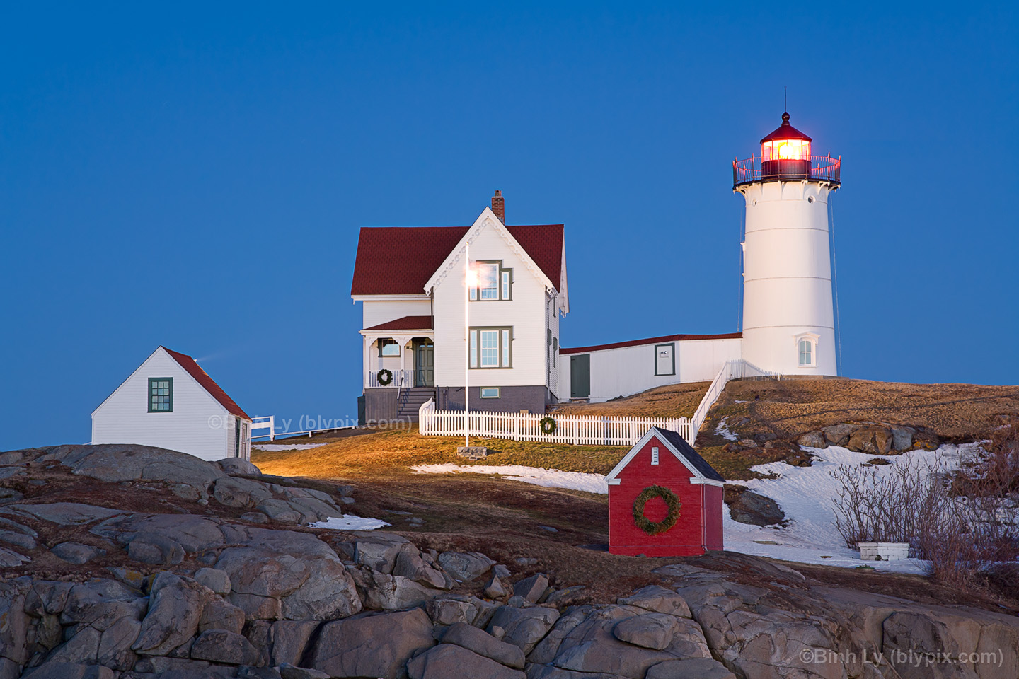 Nubble Lighthouse   Maine Wallpaper Photo Art Print   Nubble Blues 1440x960