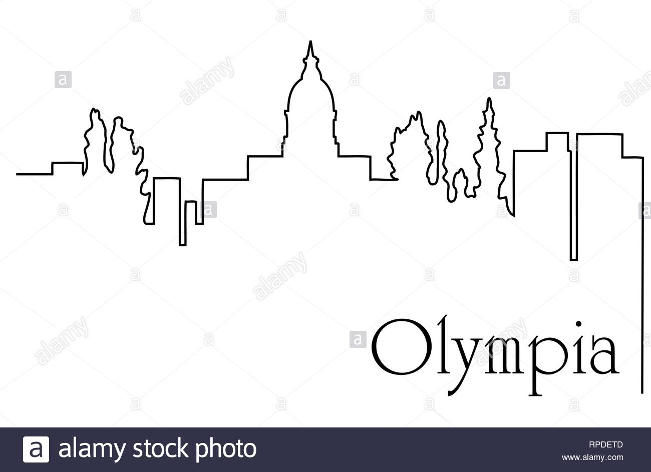 Olympia city one line drawing abstract background with cityscape 1300x943