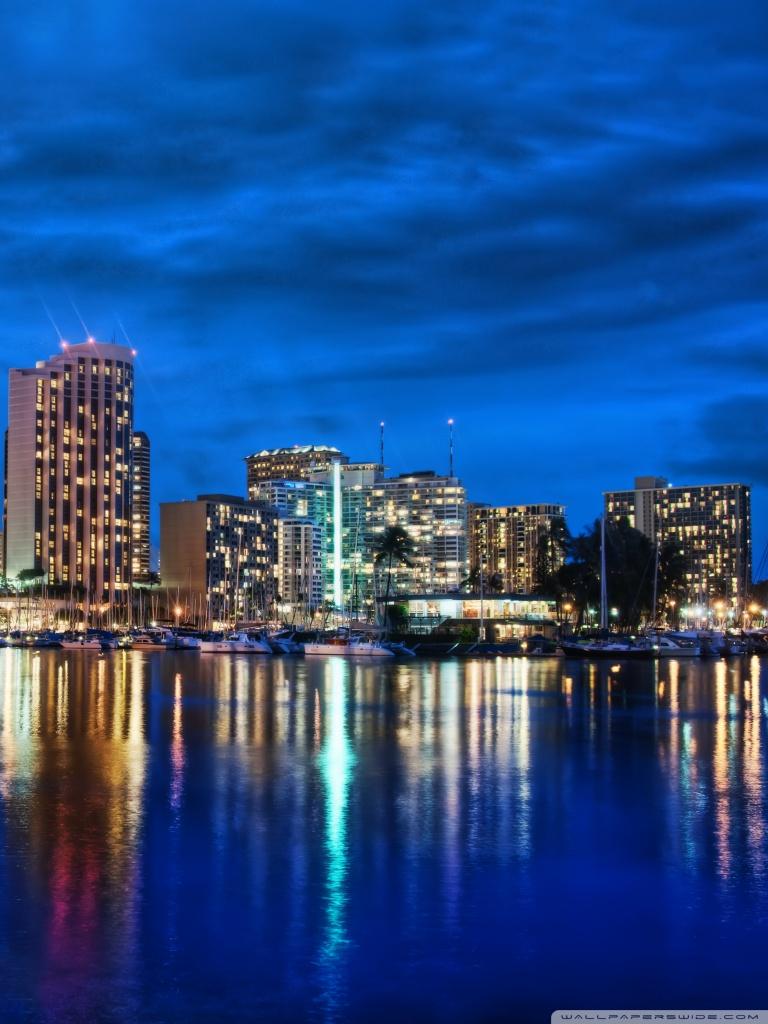 Waikiki Skyline At Night 4K HD Desktop Wallpaper for 4K Ultra 768x1024