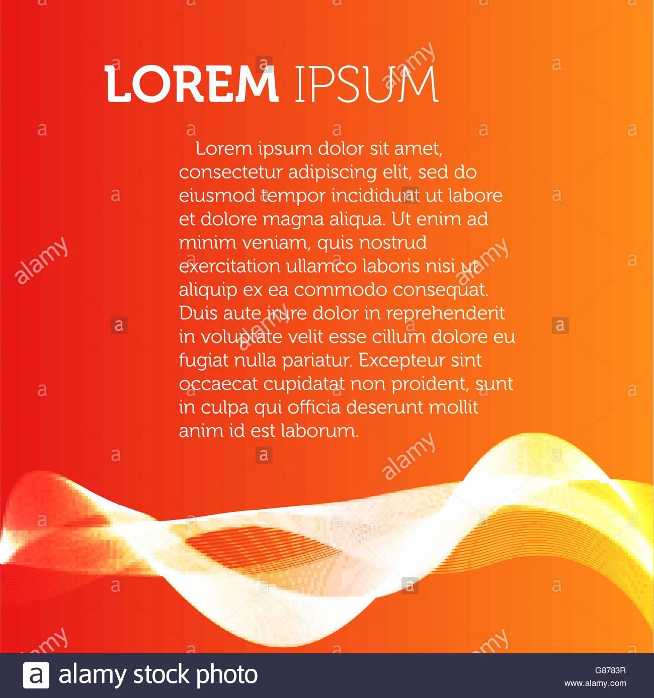 Orange color background Transparent wavy element brochure Flyer 1300x1388