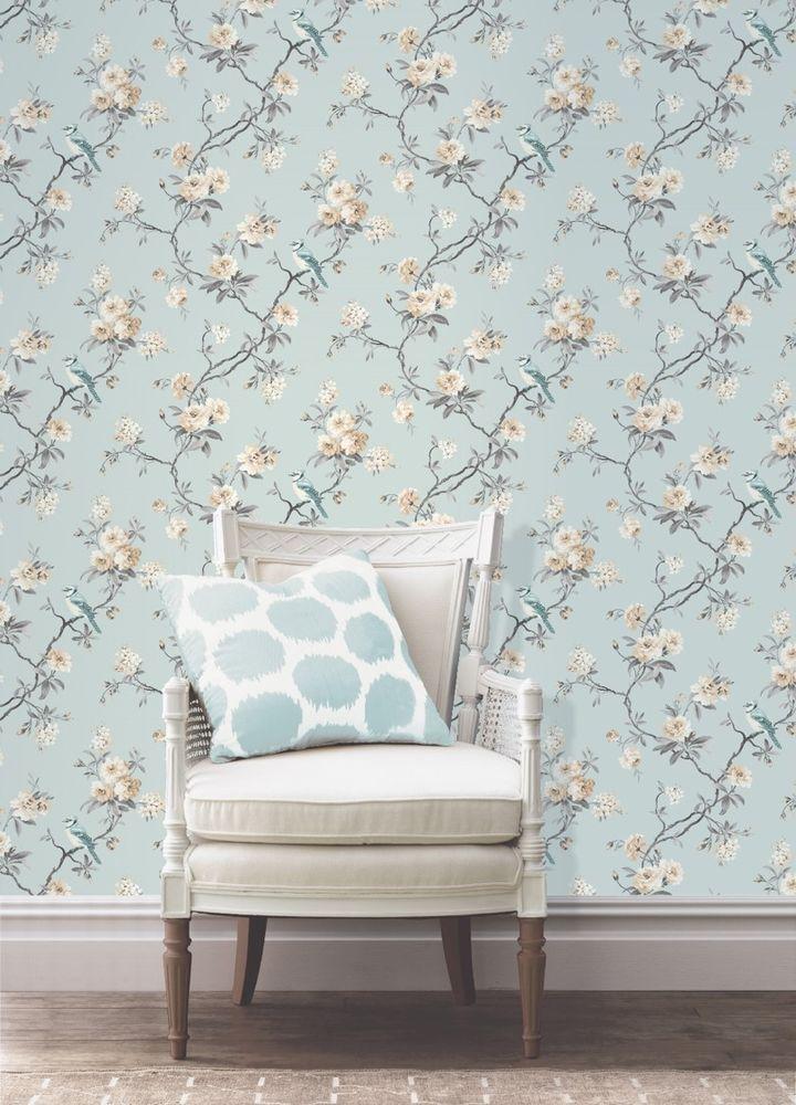 Fine Decor Chinoiserie Wallpaper FD40765 Teal Birds Flowers Fast 720x1000
