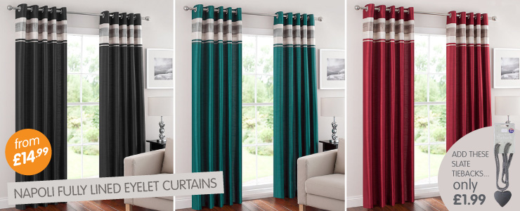of Napoli fully lined eyelet curtains from 1499 at BM Stores 740x300