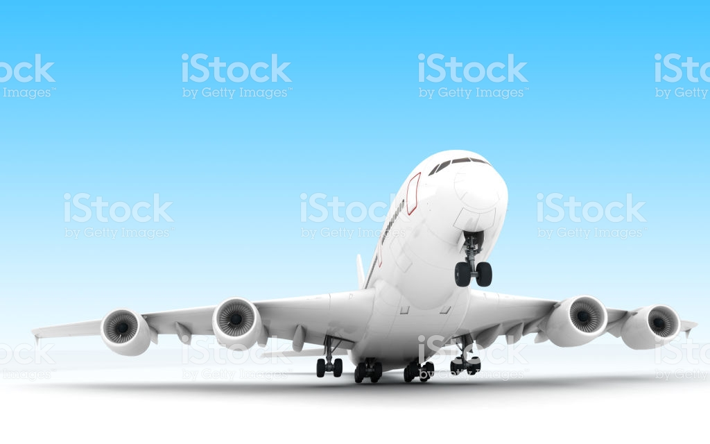 White Airplane Airbus A380 Takes Off Isolated On Blue Background 1024x640