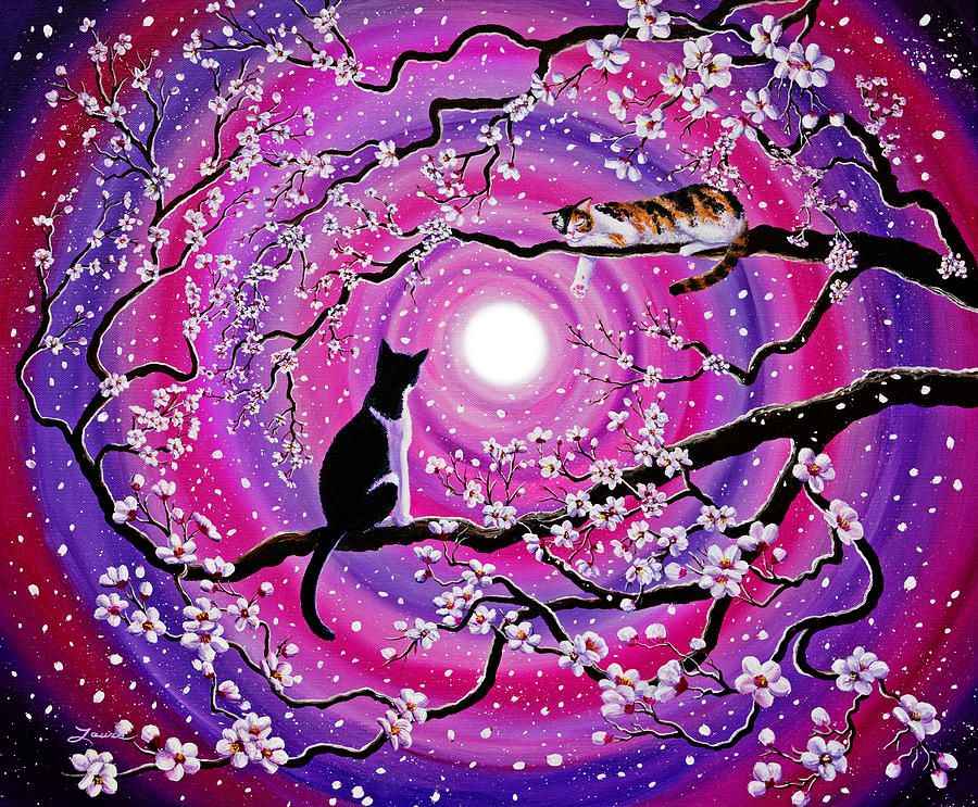 Calico And Tuxedo Cats In Swirling Sakura Sakura painting 900x743