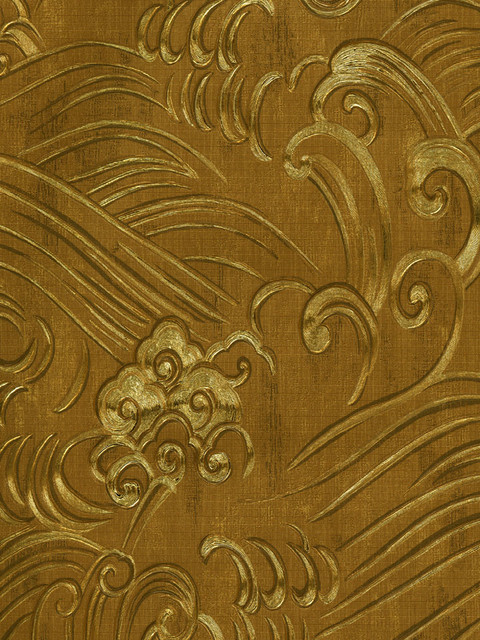 Chinoiserie Waves Wallpaper in Gold Foil by Brewster asian wallpaper 480x640