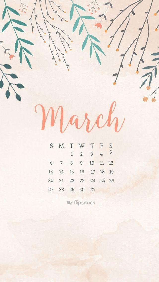 Desktop Wallpapers Calendar March 2016 640x1136