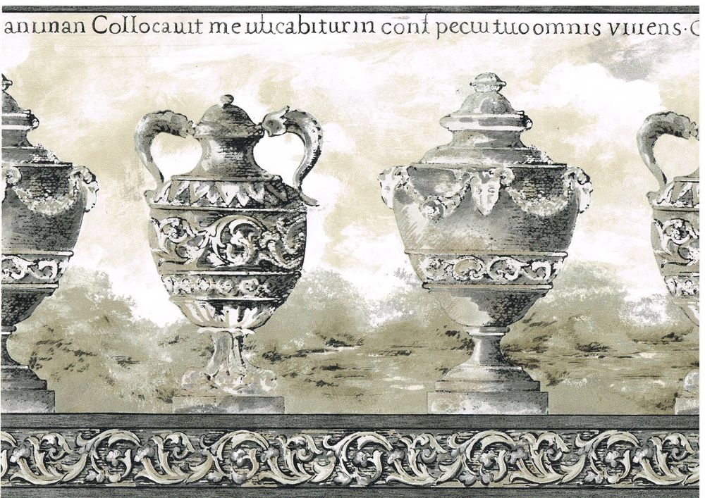Vases Crown Moulding Latin Words Gray Edge Wallpaper Wall Border 1000x707
