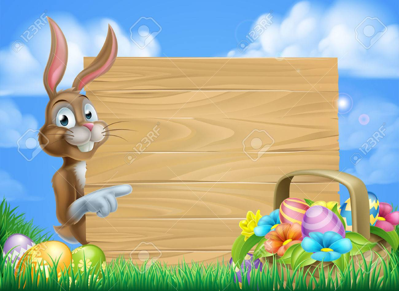 Cartoon Easter Bunny And Easter Basket Full Of Easter Eggs 1300x950