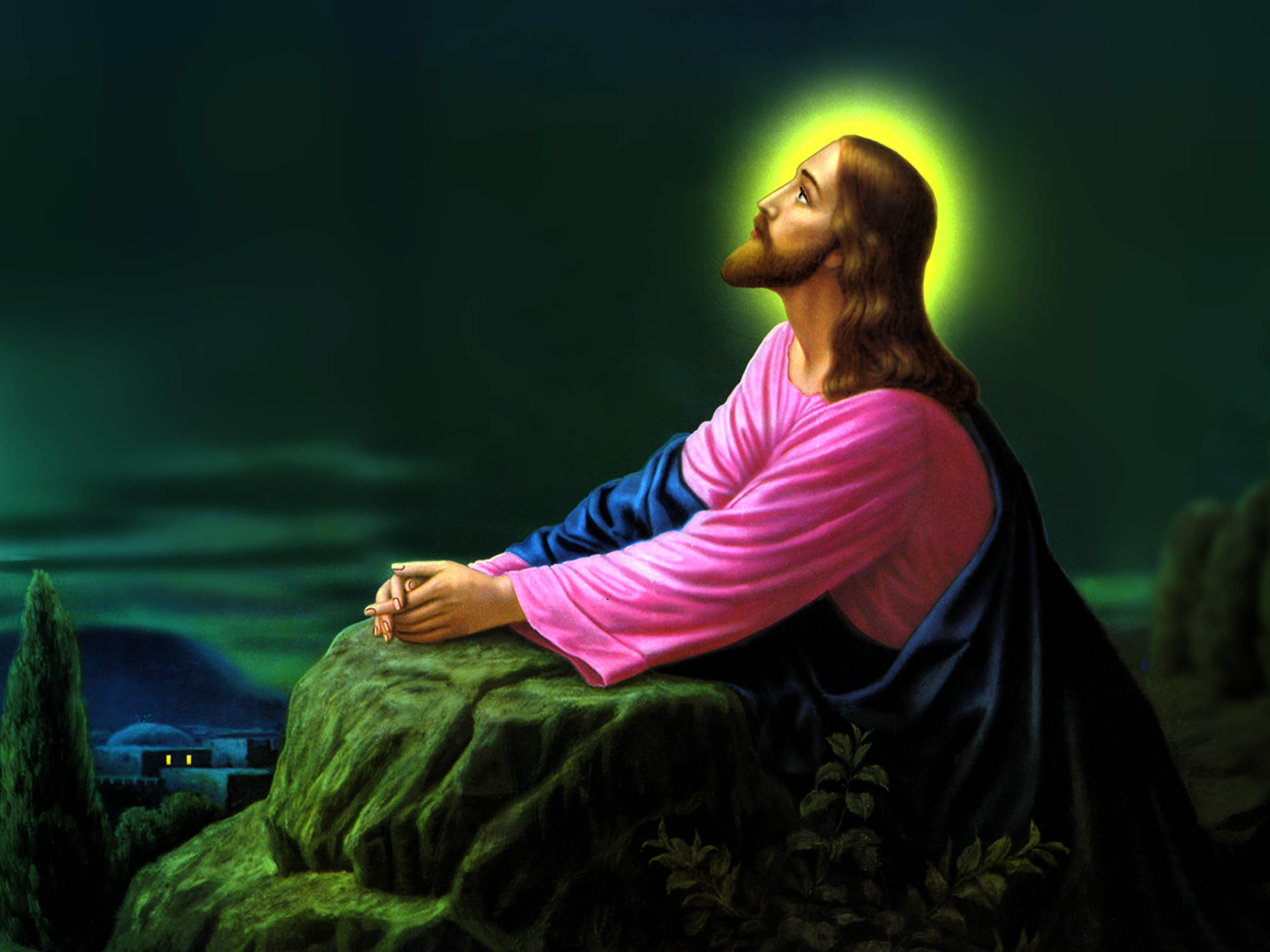 Jesus Christ Praying Wallpapers 03 2400x1800