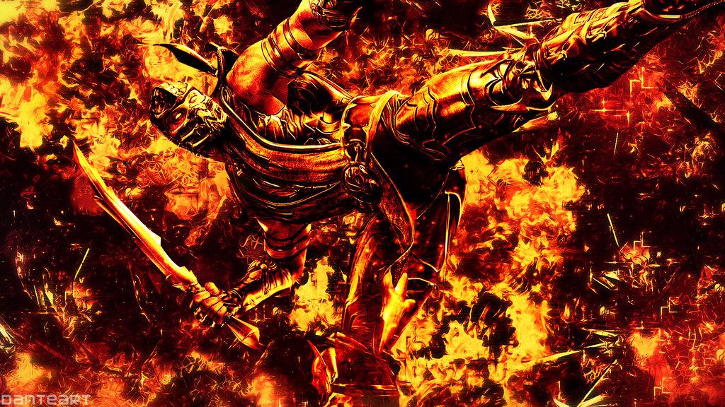 Mortal Kombat Scorpion Cracked Hell Wallpaper by DanteArtWallpapers on 1024x576
