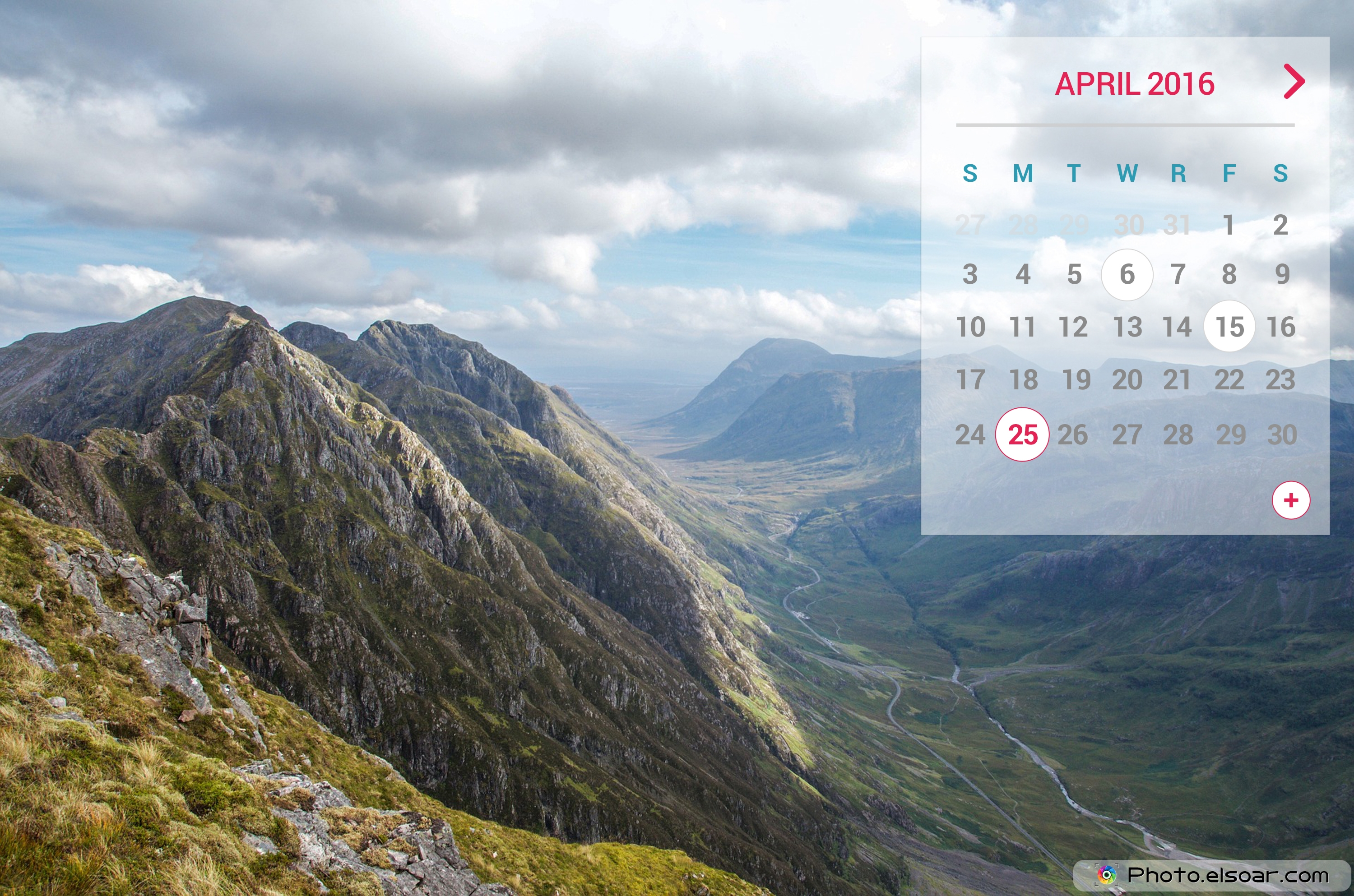 April 2016 Calendar For With A The Mountains And Landscape 3000x1986