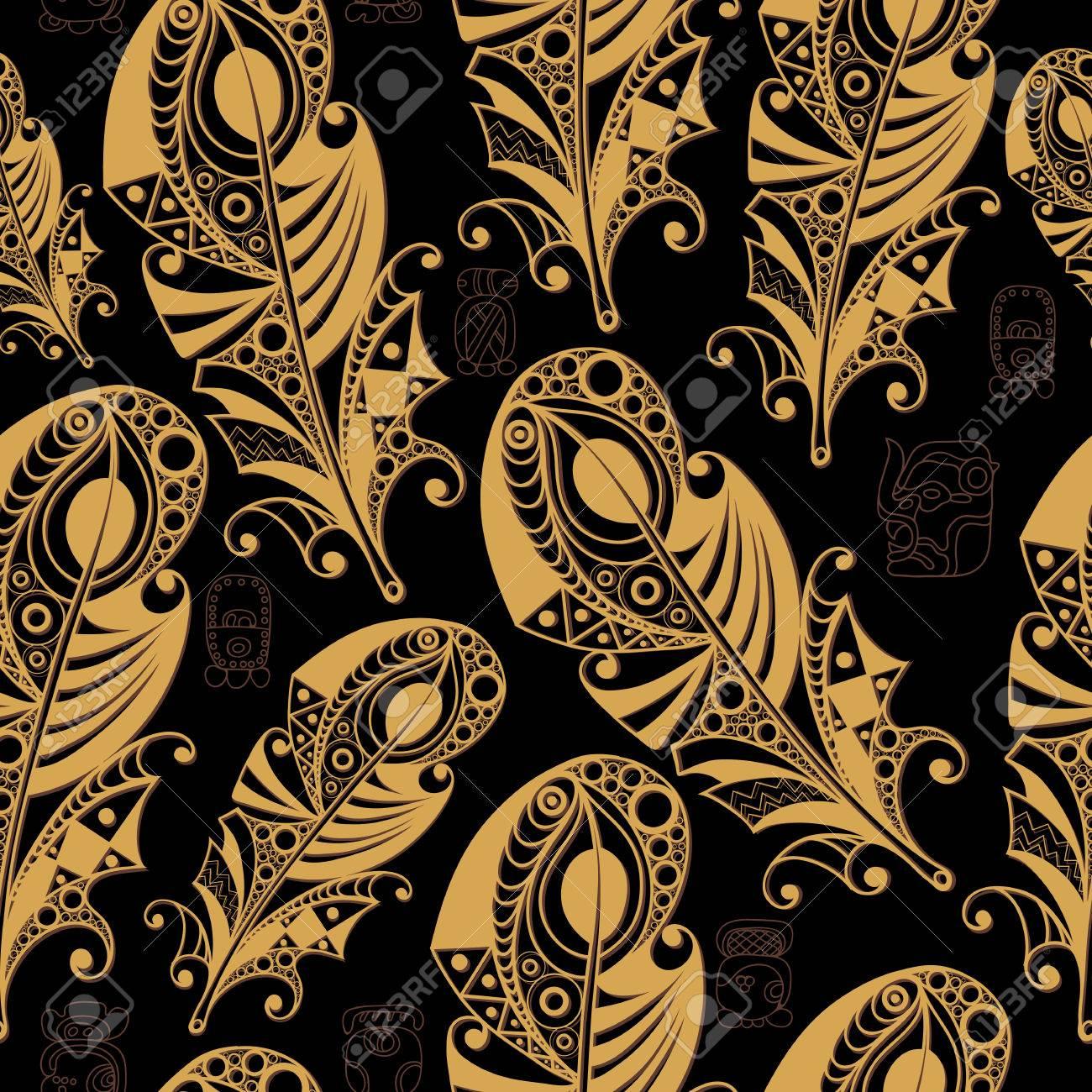 Seamless Maya Art Boho Pattern With Feathers Ethnic Print Aztec 1300x1300