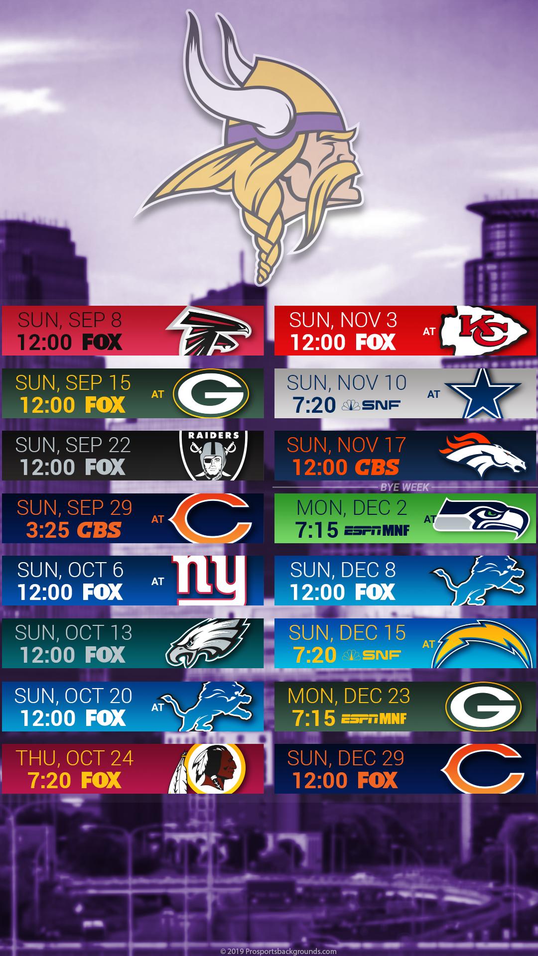 Vikings Schedule 2020.29 Minnesota Vikings 2019 Schedule Wallpapers On