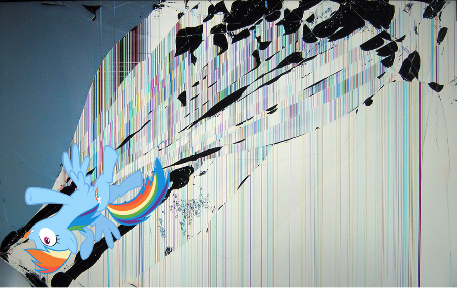 Rainbow Dash wallpaper   cracked the screen 2 by nestordc on 900x567
