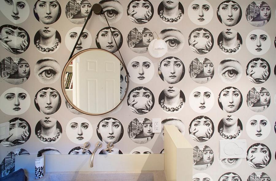 Fornasetti Tema e Variazioni Wallpaper in the contemporary bathroom 12 900x592