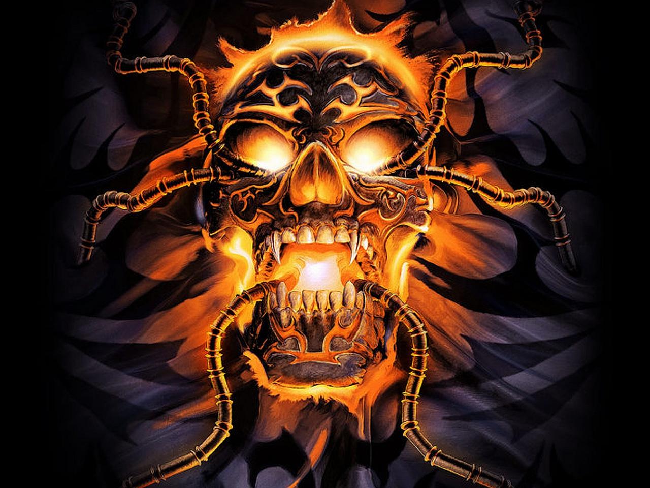 Dark skull wallpapers wallpapersafari - Scary skull backgrounds ...