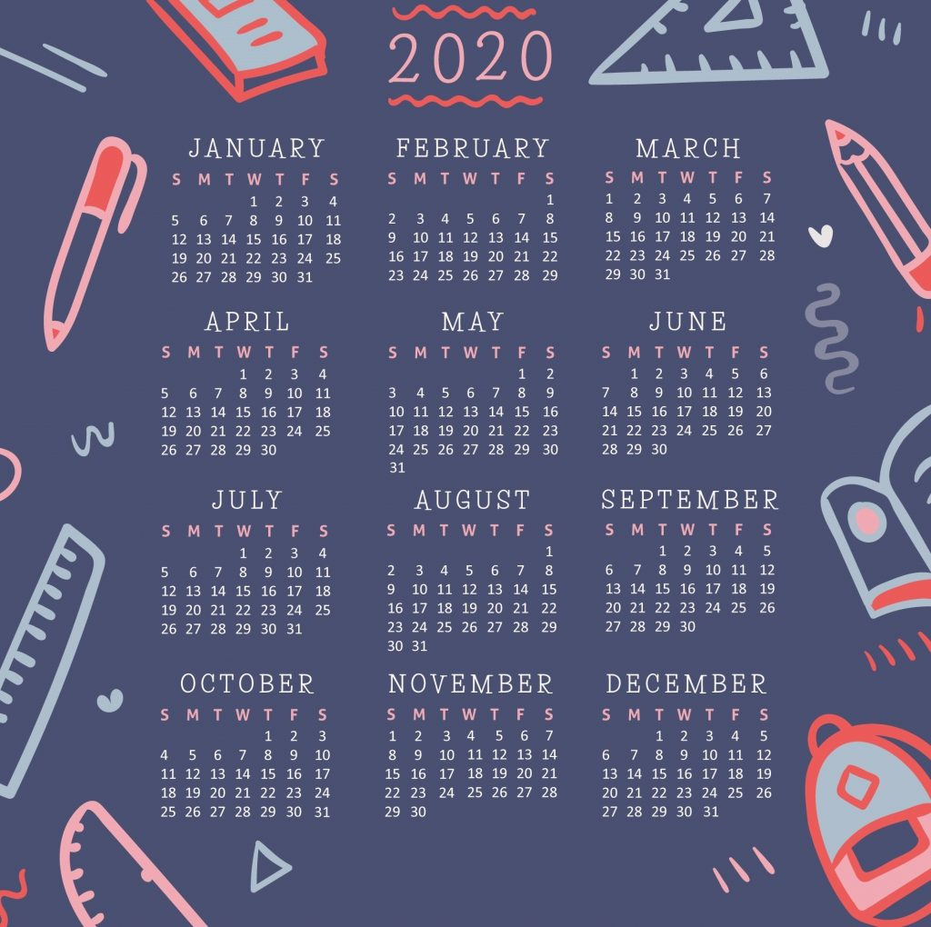 Desktop 2020 Calendar Wallpaper 1024x1020