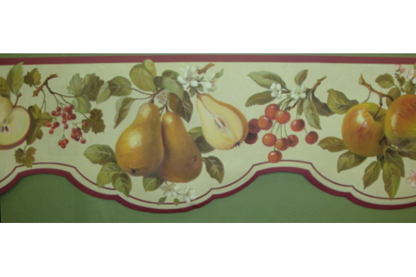 Home Maroon Scalloped Fruit Wallpaper Border 600x400