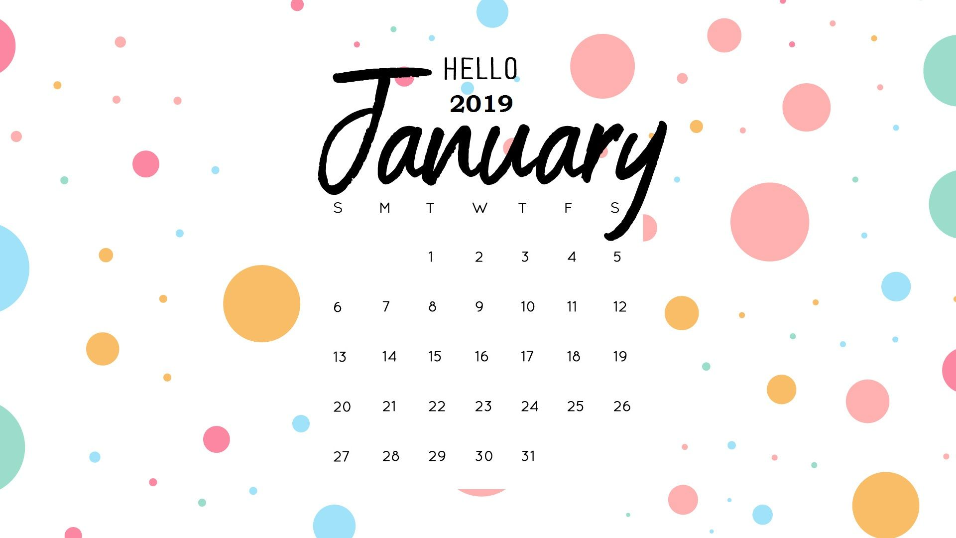 Hello January 2019 Calendar Wallpaper Monthly Calendar Templates 1920x1080