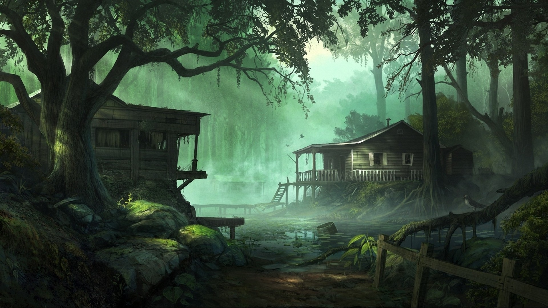 Forest House HD Wallpaper 1920x1080