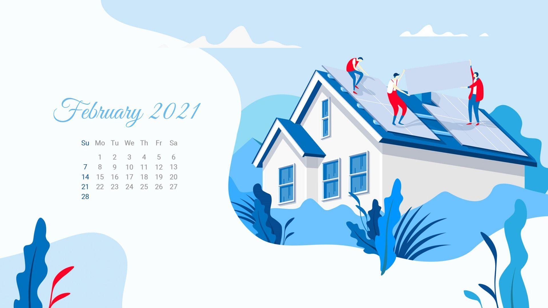 February 2021 Calendar Wallpaper Calendar wallpaper 2021 1920x1080