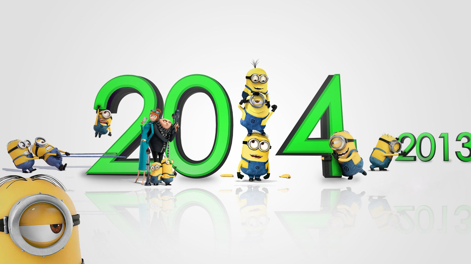 Download Happy New Year 2014 Minions HD Wallpapers 6126 Full Size 1600x900