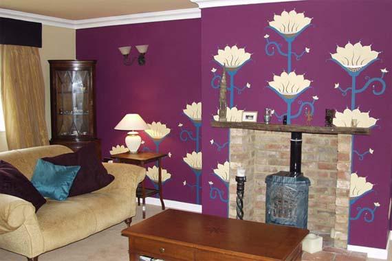 Purple living room wallpaper with flower motive 570x380