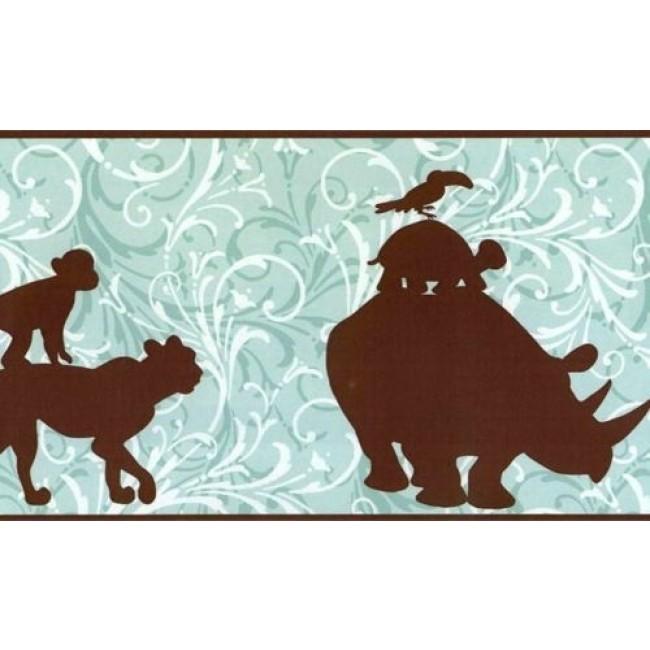 CHOCOLATE JUNGLE SILHOUETTES WALLPAPER BORDER   All 4 Walls Wallpaper 650x650