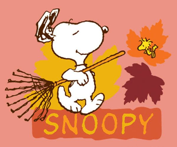 Snoopy with rake Snoopy Fall Thanksgiving Pinterest 600x498