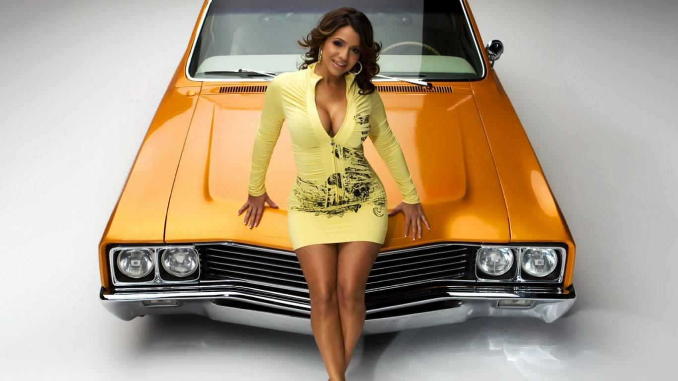 girl and car wallpaper 5jpg 1366x768