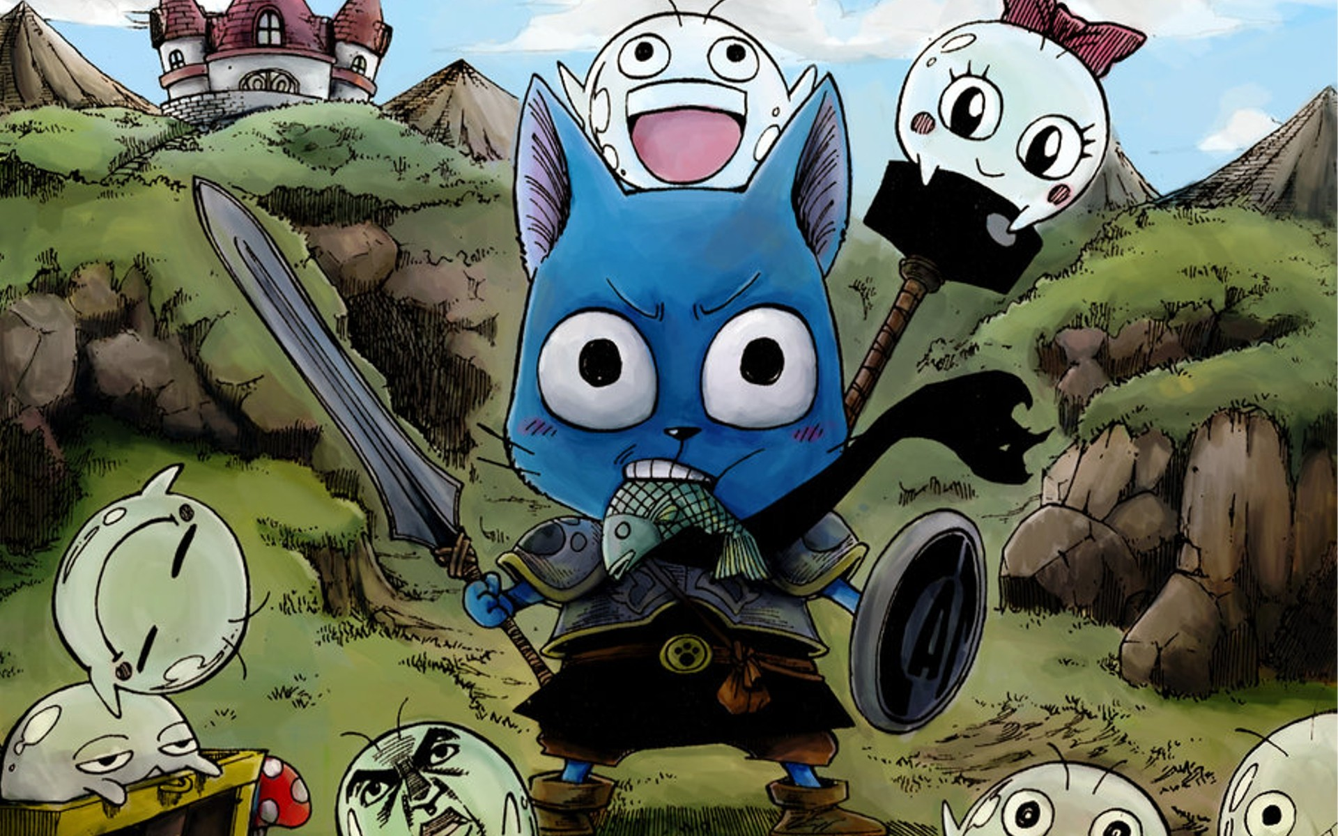 Fairy tail cats drawn happy fairy tail wallpaper background 1920x1200