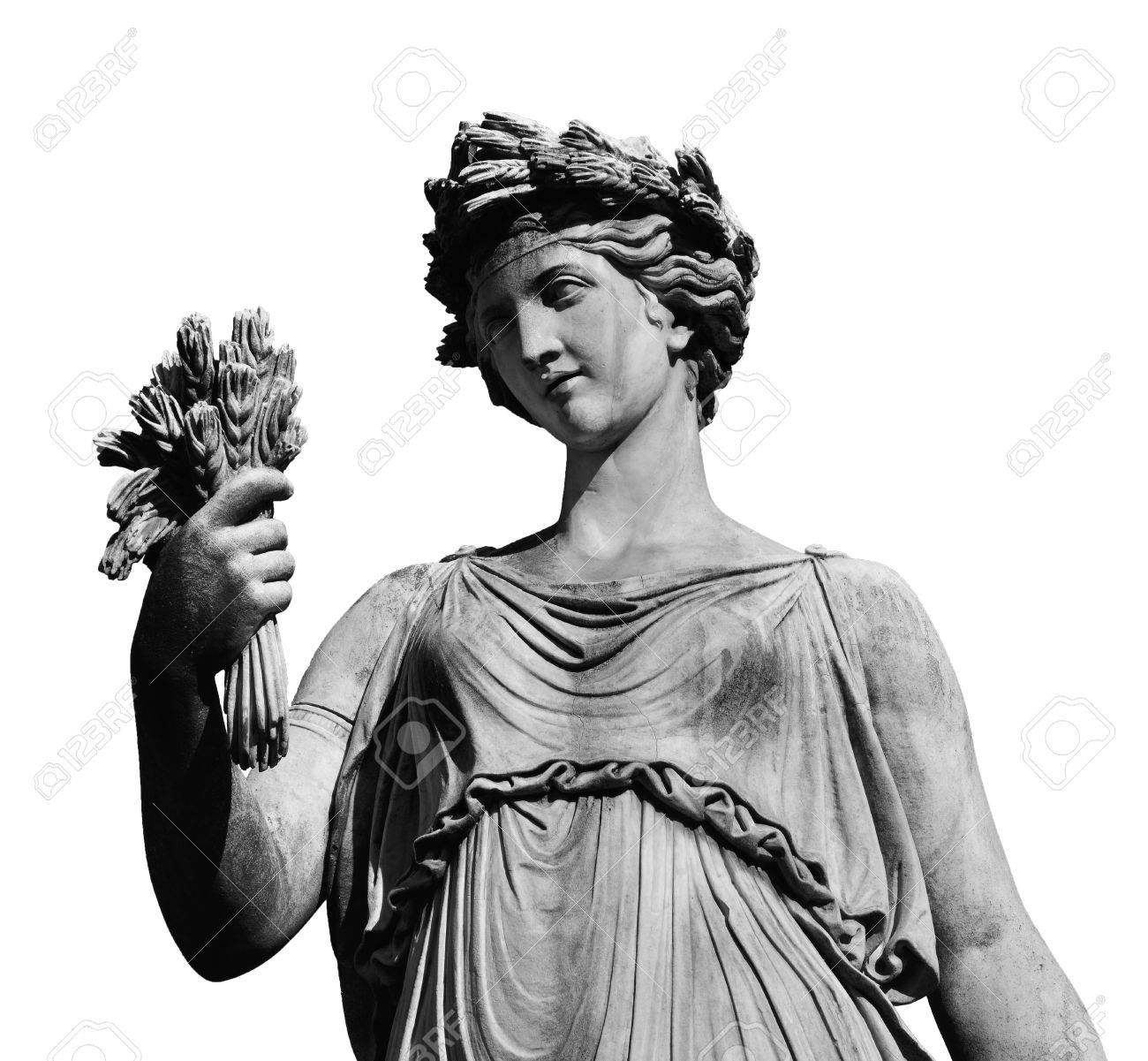 Ancient Roman Or Greek Neoclassical Statue Holding Wheat In Rome 1300x1201