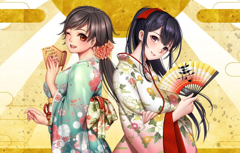 Wallpaper girls fan kimono yukata anime art masami chie as 1332x850