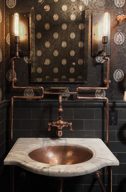 Architecture steampunk powder room cooper pipes wallpaper lighting 422x639