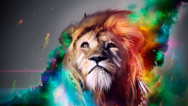 The pride and strength of a lion in a colorful HD desktop wallpaper 639x360