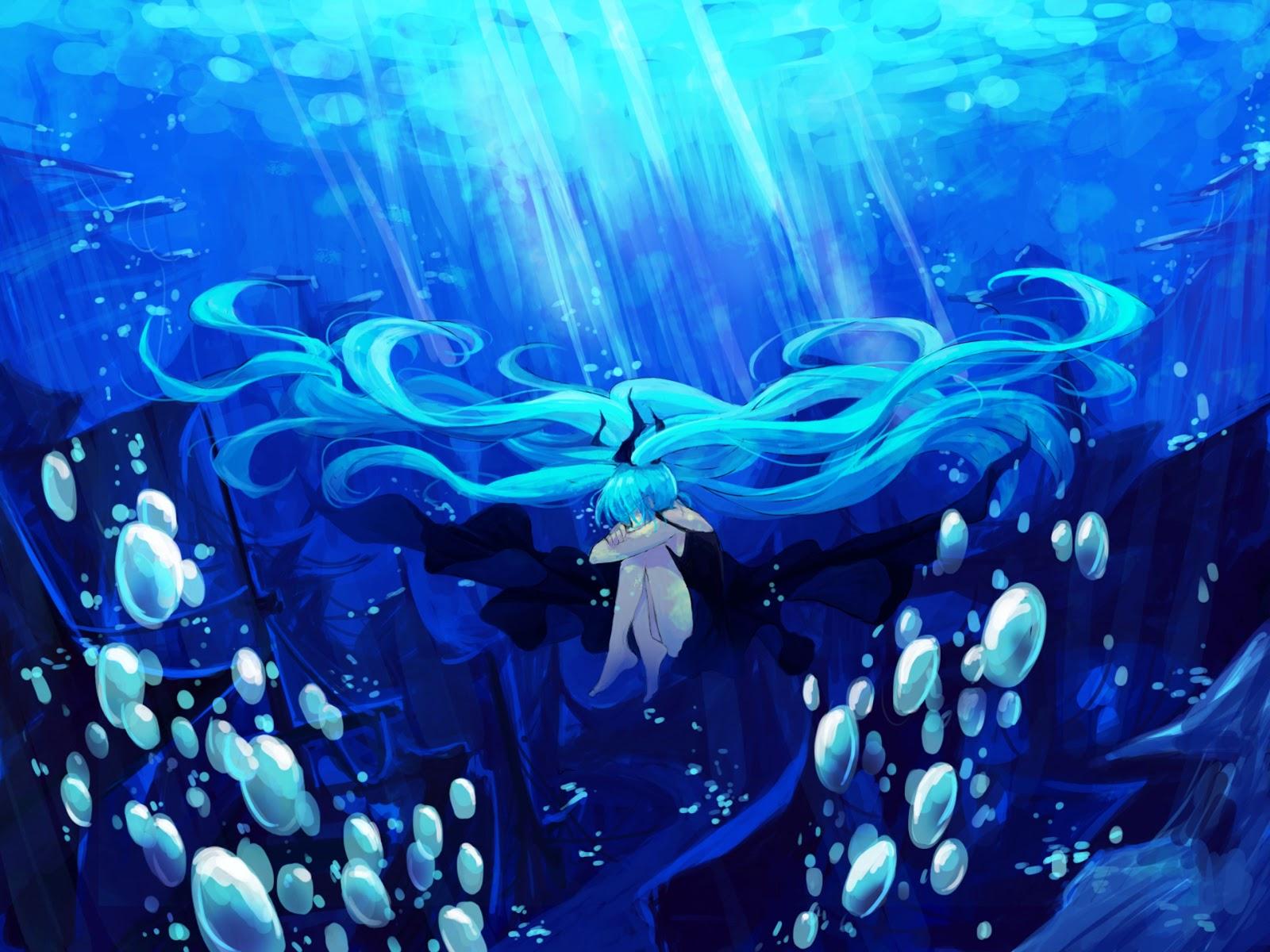 Hatsune Twin Tail Underwater Bubbles Vocaloid Anime Girl HD Wallpaper 1600x1200