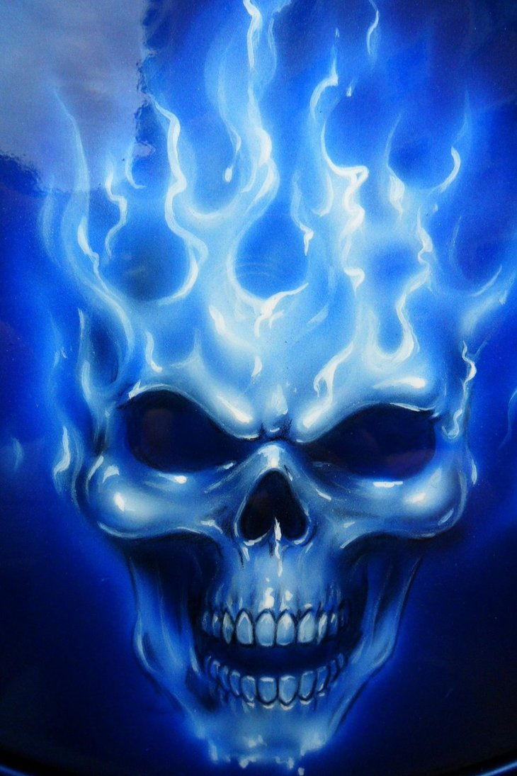 Blue Fire Skull Wallpaper - WallpaperSafari