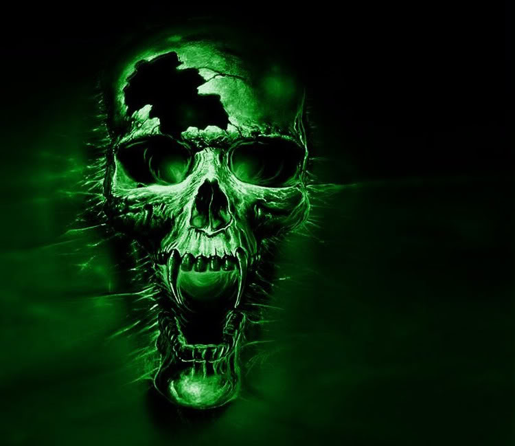Green Skul wallpapers Scary Wallpapers 750x649