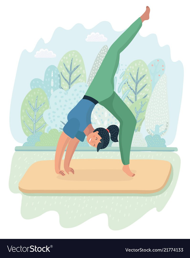 Woman posture yoga with park background Royalty Vector 797x1080