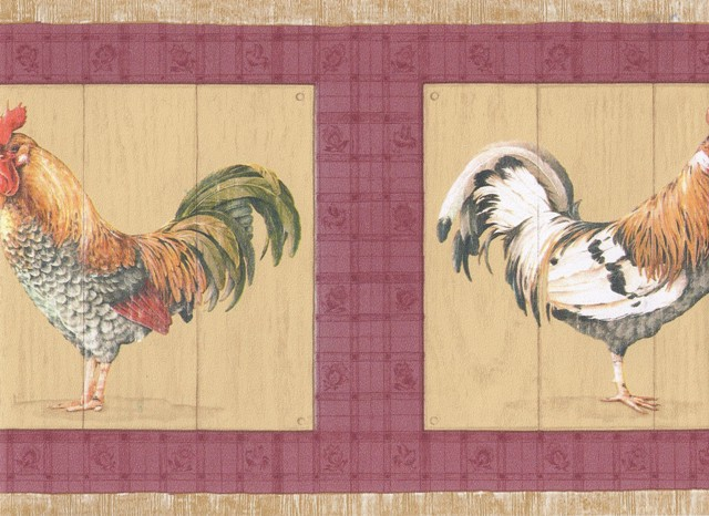 Beige Red Roosters Wallpaper Border   Country Folk 640x466