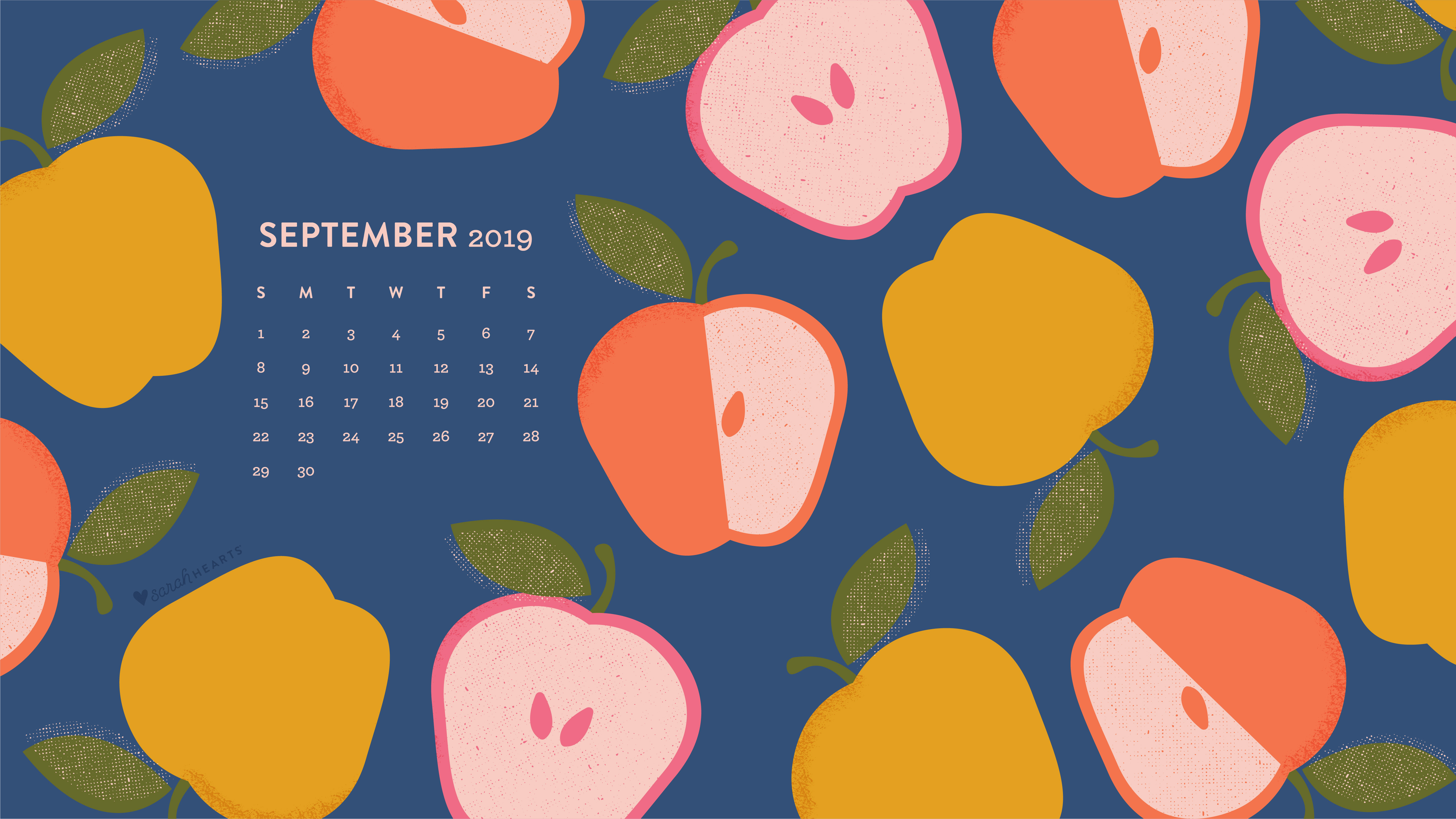 Colorful Apple September 2019 Calendar Wallpaper   Sarah Hearts 5334x3001