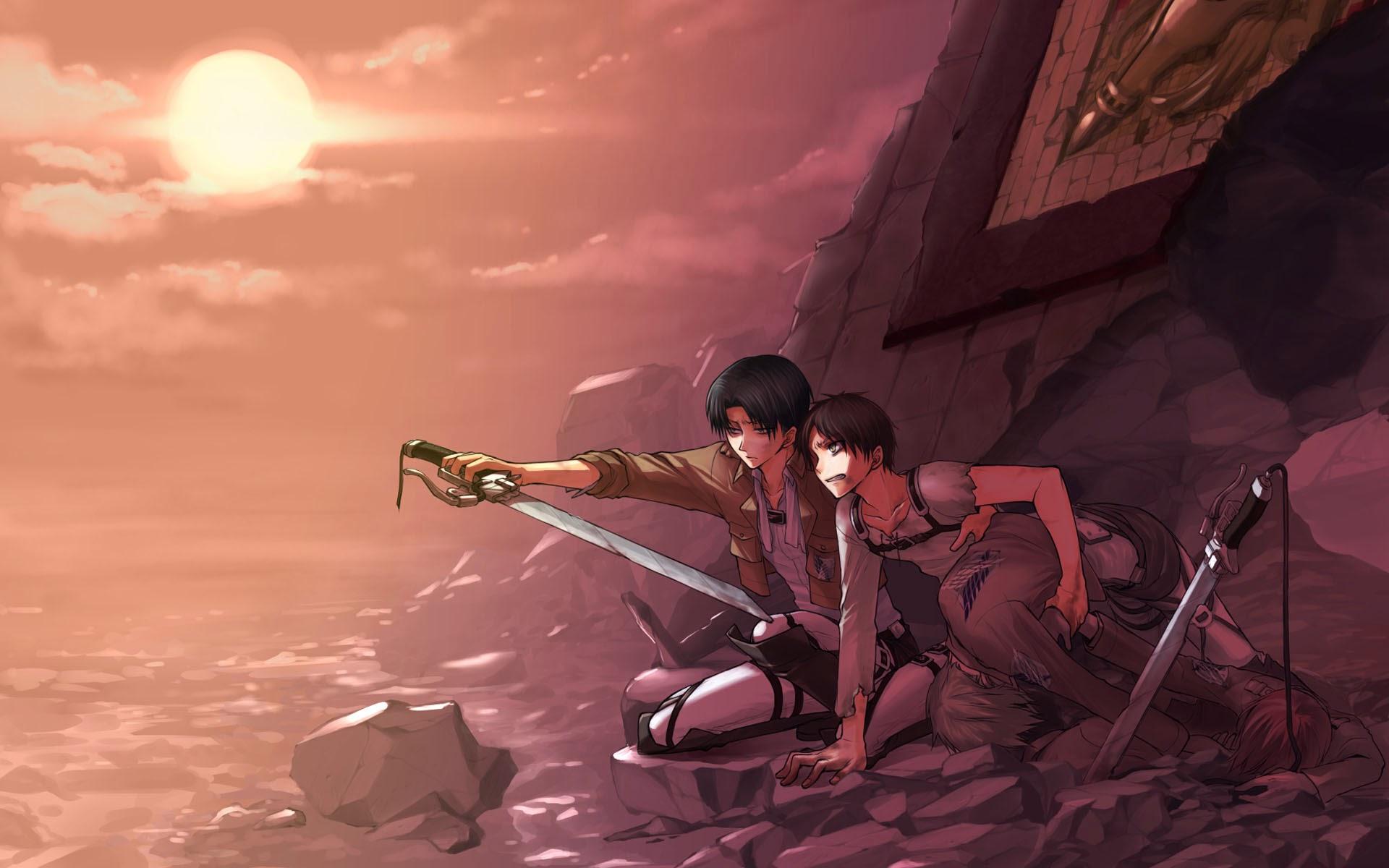levi eren armin attack on titan shingeki no kyojin sunset hd wallpaper 1920x1200