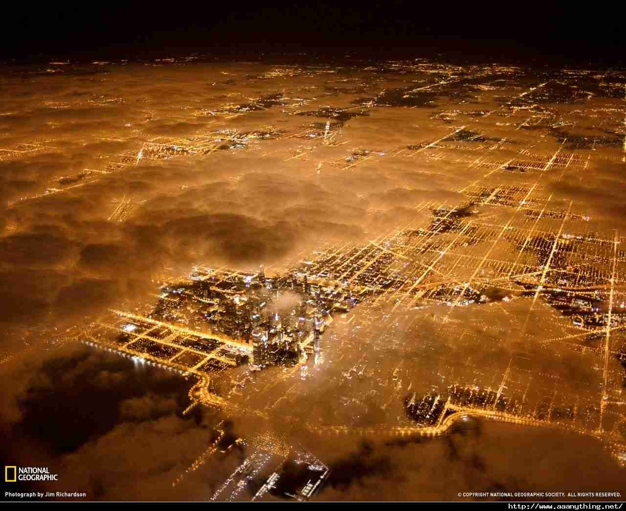 Aerial View of Chicago by Night Beauty However Defined 1280x1044