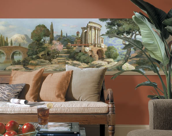 Details about Italian Old WorldTuscan Scenic Mural Style Wall Border 596x472