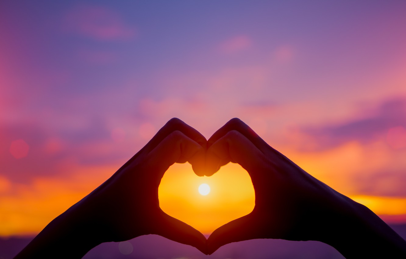 Wallpaper love sunset heart hands love heart sunset 1332x850