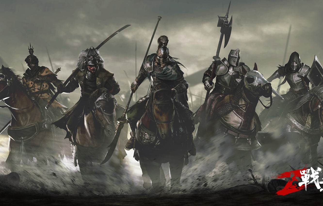 Wallpaper weapons the game armor horse warriors riders 1332x850