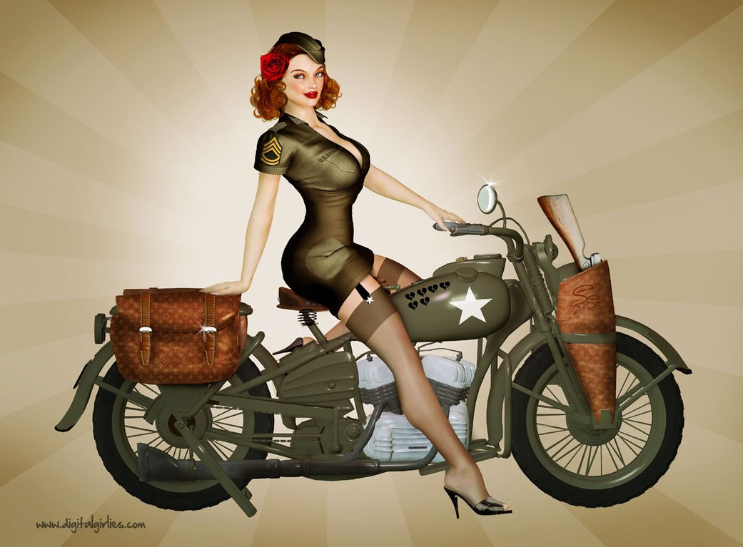 Military Style Pin-Up Girls Print