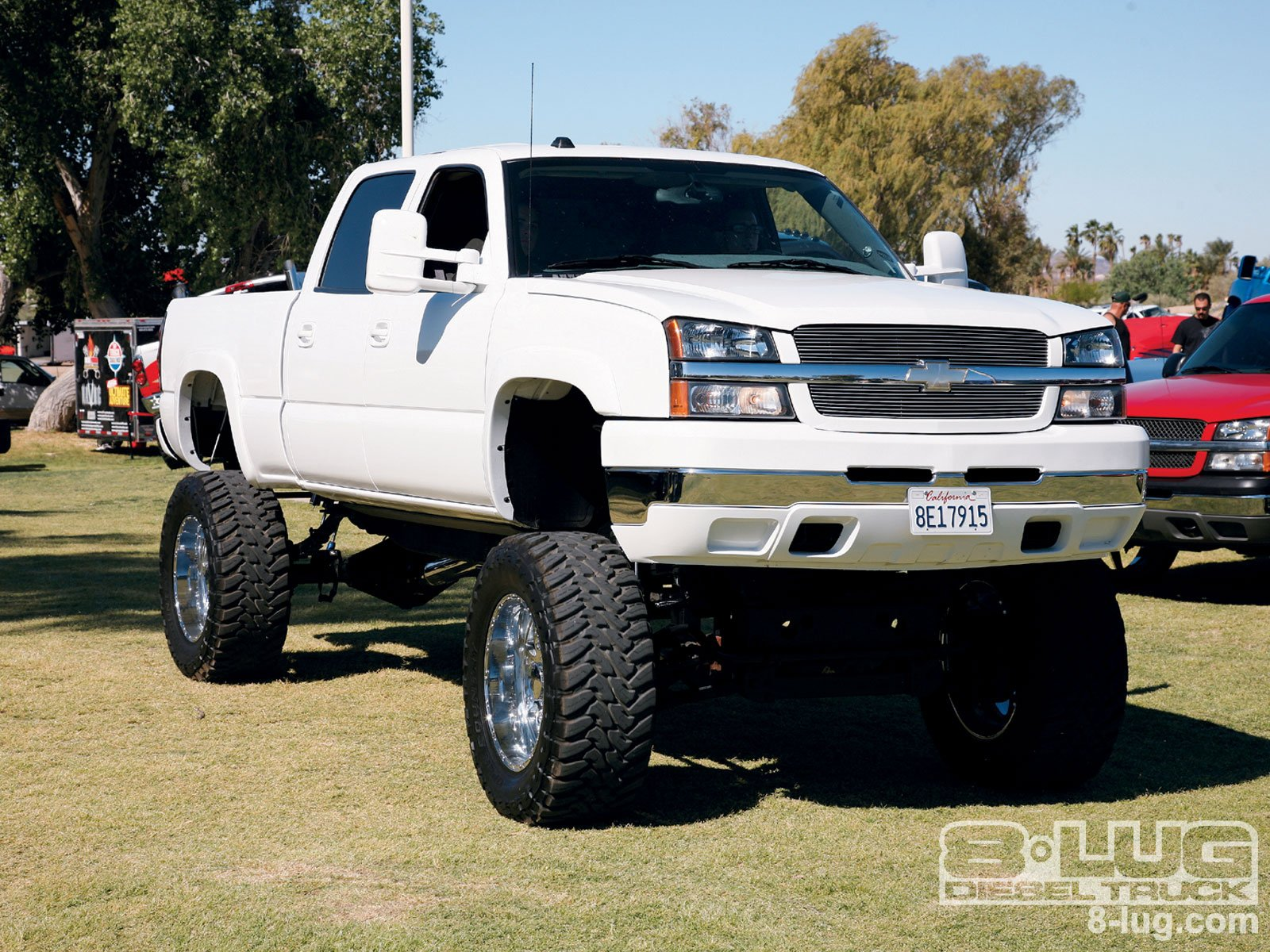jacked up white chevy trucks - photo #8
